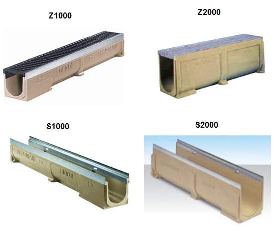 MEA polymer Concrete channel sizes