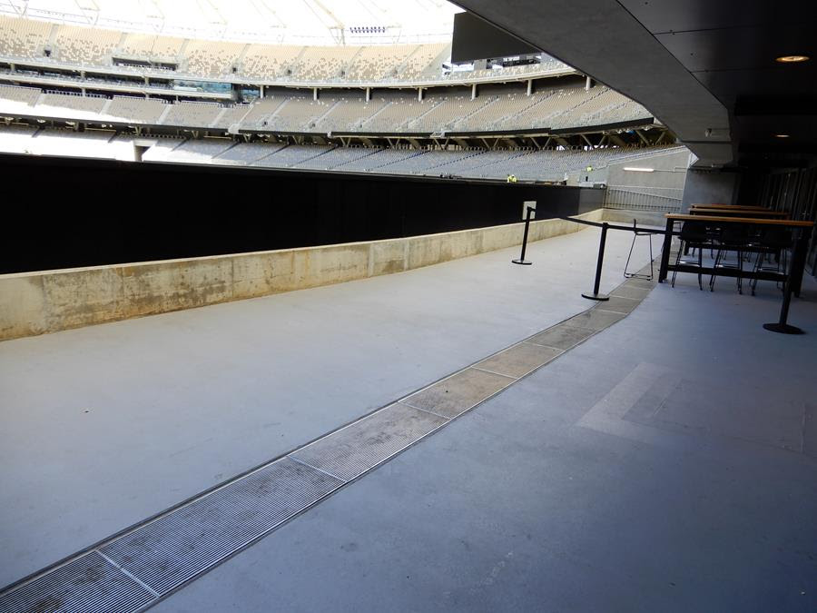 Ultimate Custom grate and channel curved viewing areas 2 Optus stadium